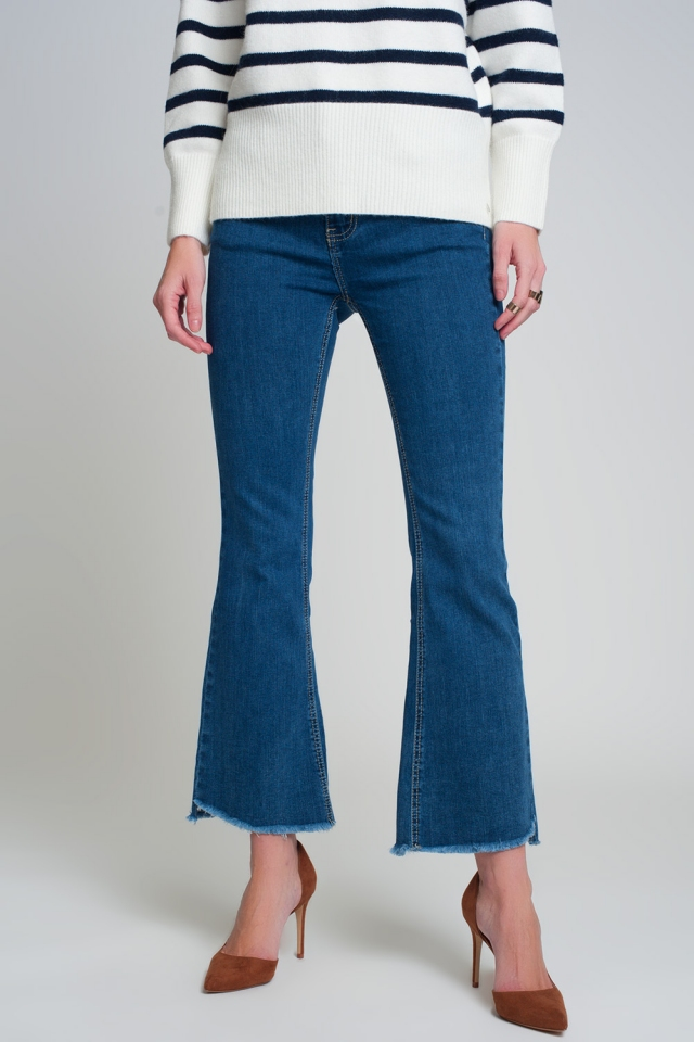 Flare jeans met hoge taille in donkerblauw