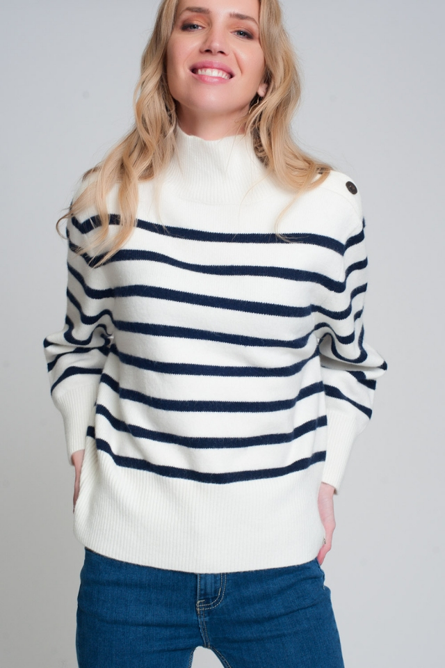 Gestreepte sweater met knoopdetail in zwart