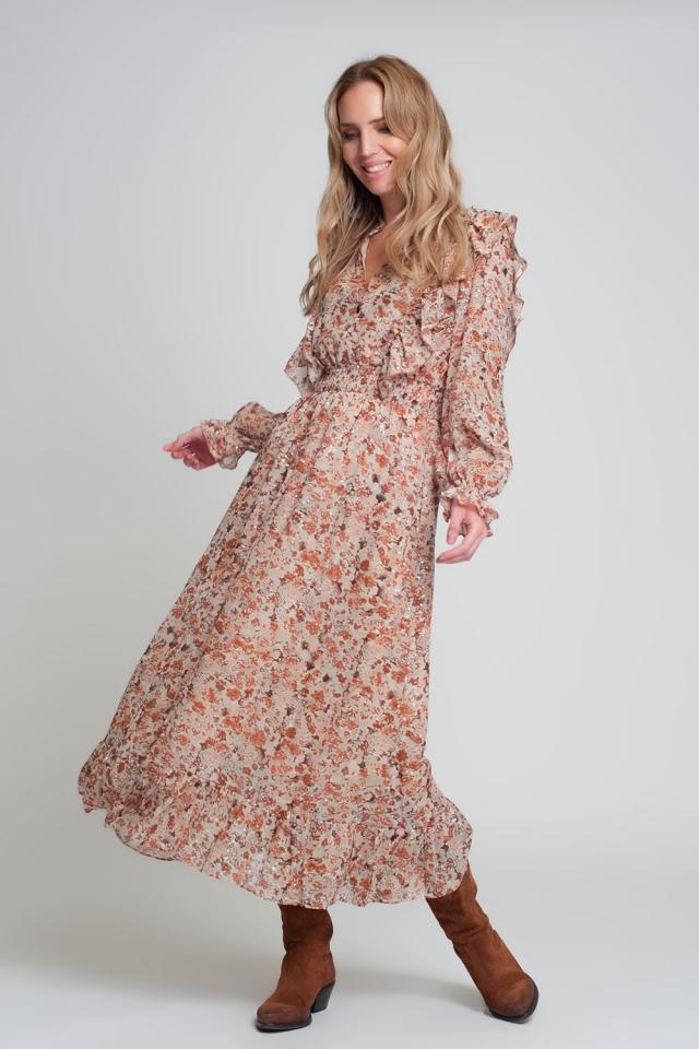 Bruine midi-jurk met bloemenprint, ruches en lange mouwen met V-hals