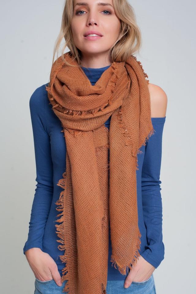 Lichtgewicht gebreide sjaal in oranje