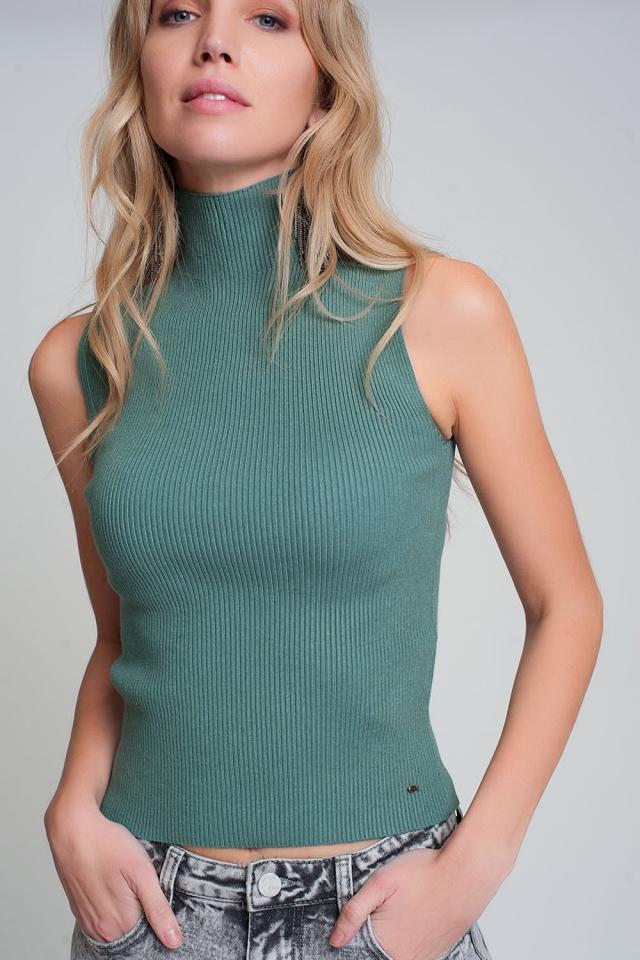 Geribbelde mouwloze trui met opstaande kraag in groen