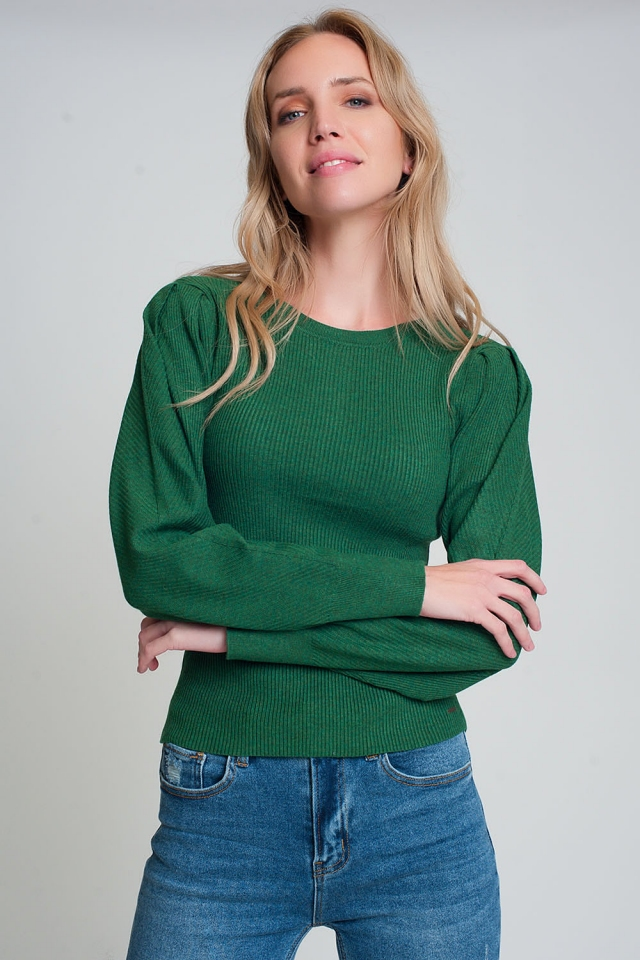 Gebreide trui met ronde hals, lange mouwen en ribbels in groen
