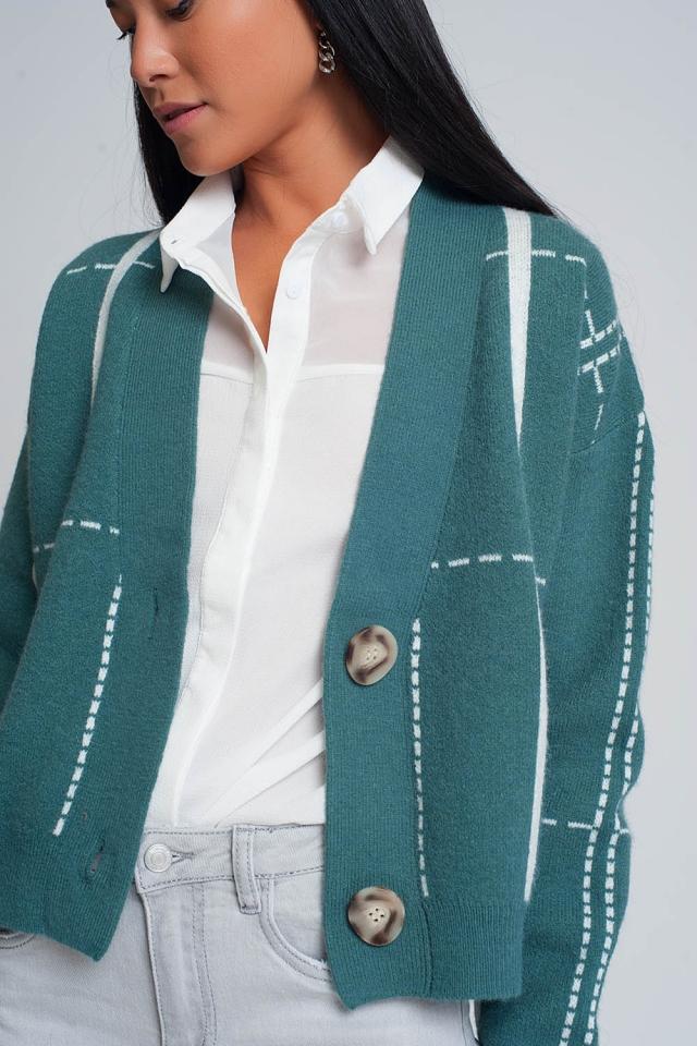 Button through v neck cardigan in groen