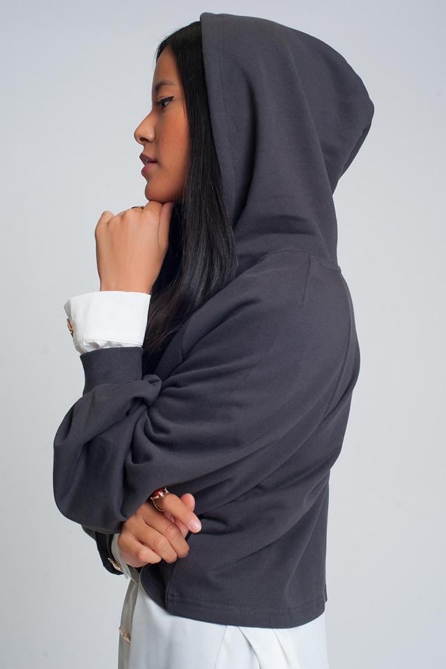 Cropped hoodie met V-hals in donkergrijs