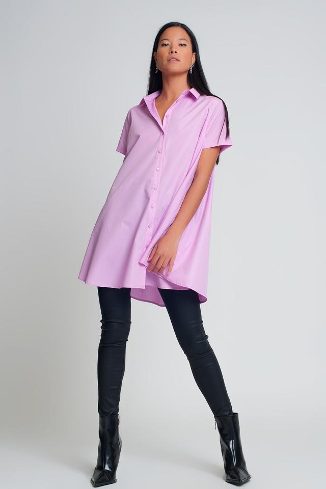 Oversized popeline overhemd met korte mouwen in paars