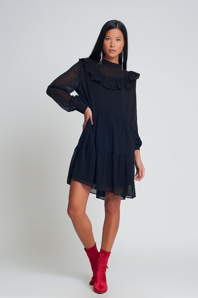 Aangerimpelde mini-jurk van chiffon met pofmouwen en ruches in zwart met  stippen