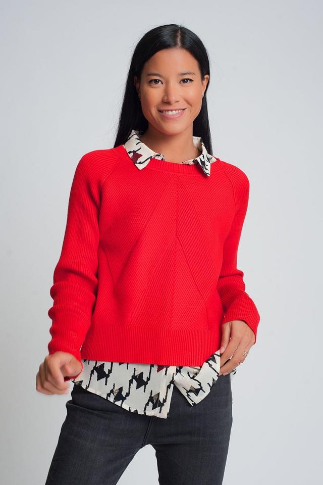 Gebreide trui met ronde hals en ribbels in rood