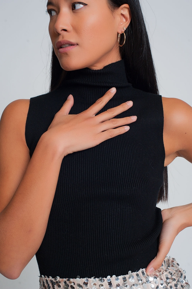 Geribbelde mouwloze trui met opstaande kraag in zwart