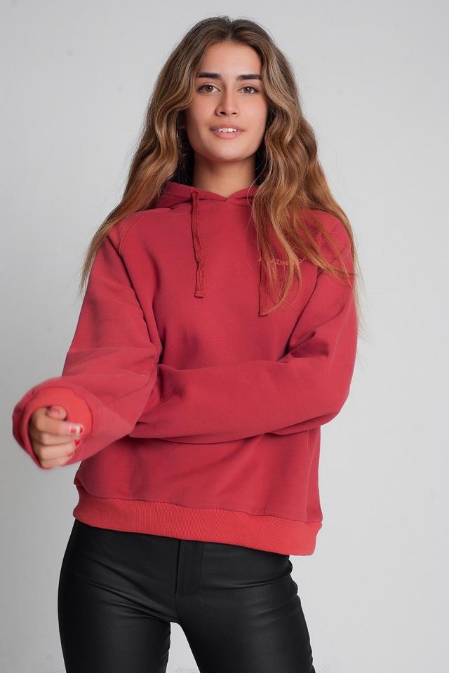 Sweatshirt met tekstprint in kastanjebruin