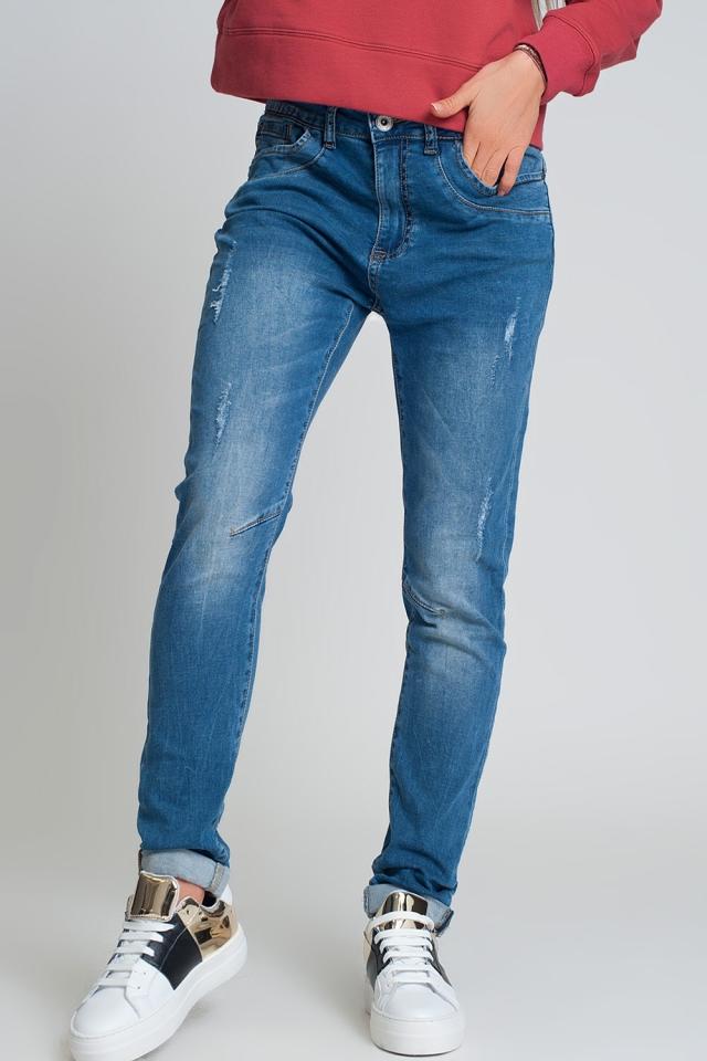Blauwe boyfriend jeans met versleten ontwerp