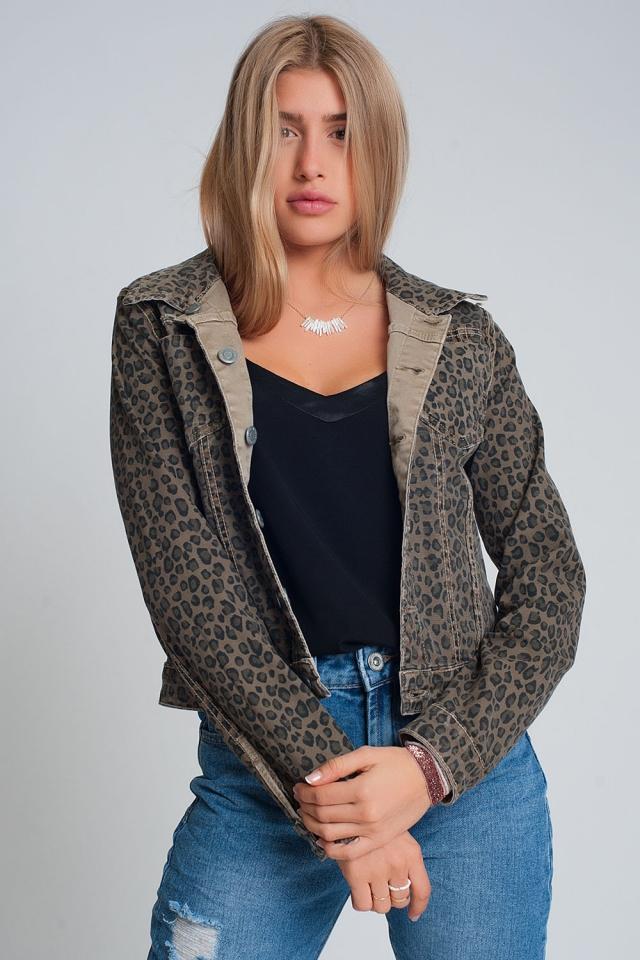 Denim jasje omkeerbaar met zakken in luipaardprint beige