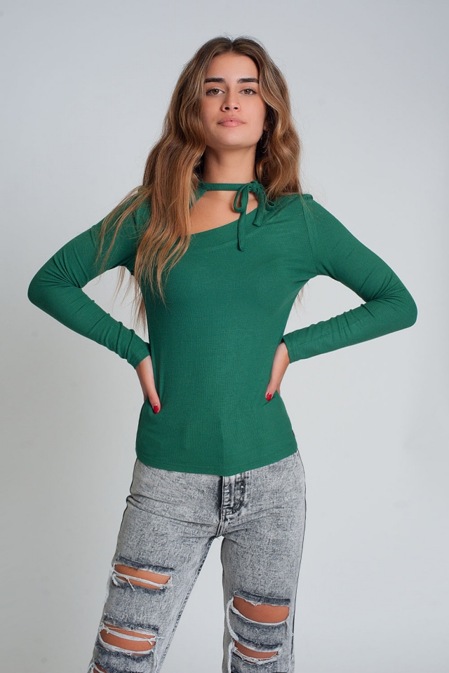 Asymmetrische nek trui in groen