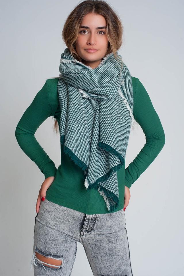 Oversized groene rafelige sjaal