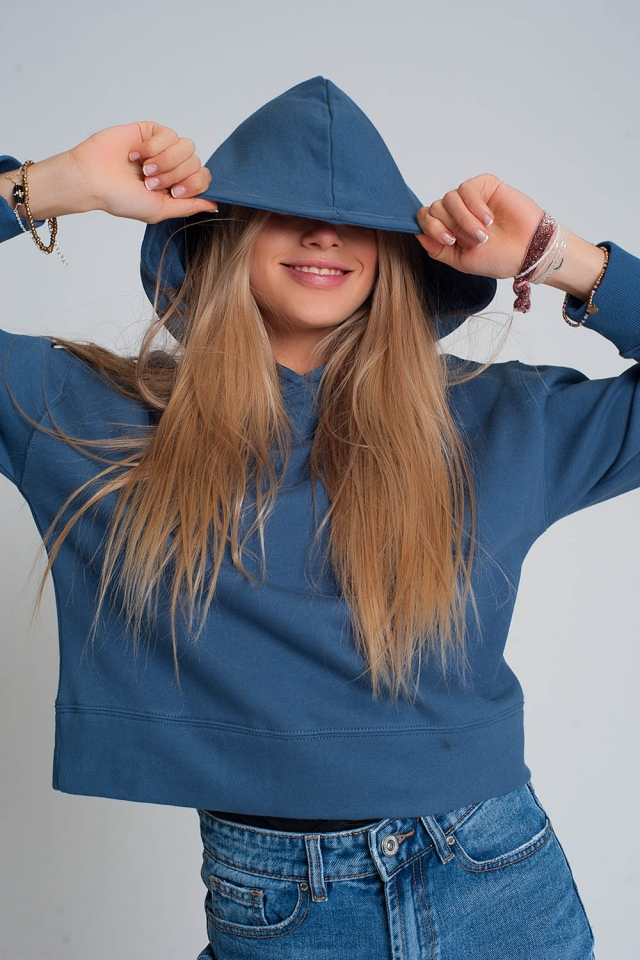 Sweatshirt met capuchon in blauw