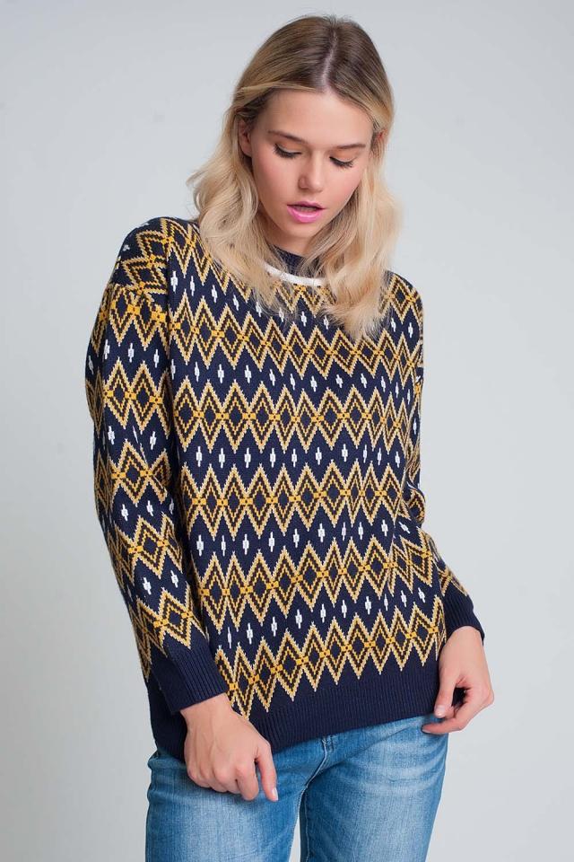 Marineblauwe gebreide trui met ruitmotief
