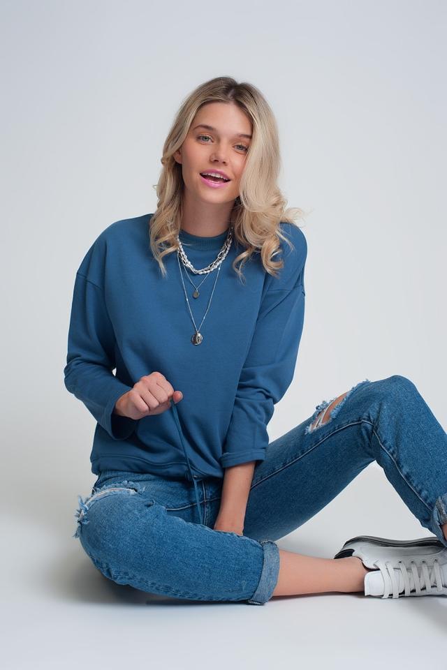 Katoenen trekkoordsweater in blauw