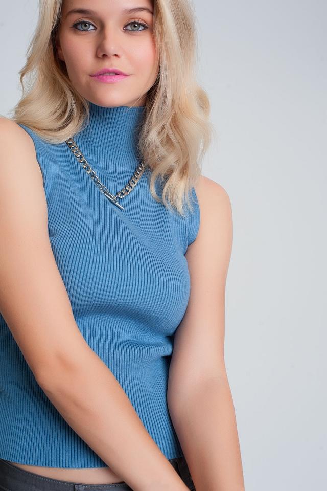 Geribbelde mouwloze trui met opstaande kraag in blauw