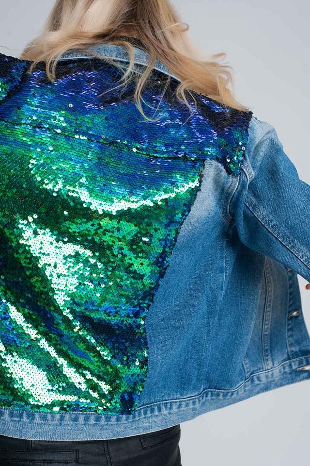 Blauw sequined denim jasje