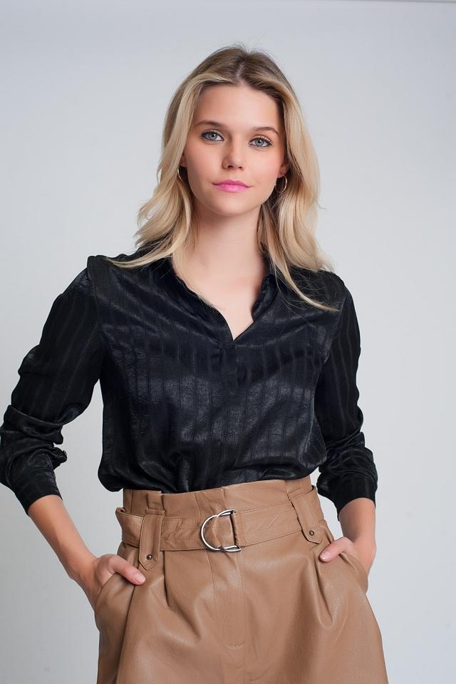 Satijnen overhemd met lange mouwen en strepen in zwart