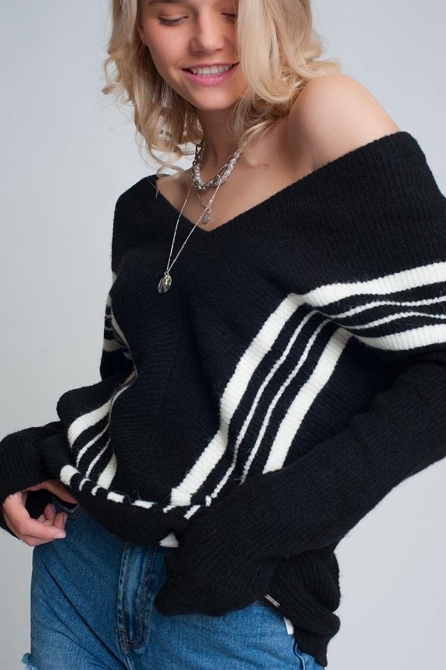 V-hals trui met contrasterende streep in Zwarte