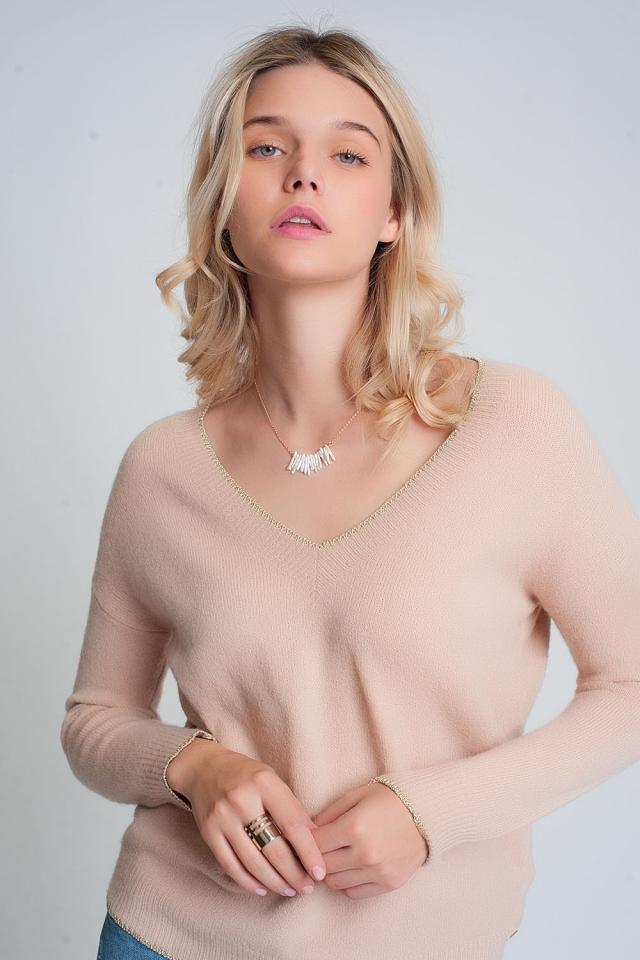 Trui met V-hals en gemixte strepen in Roze