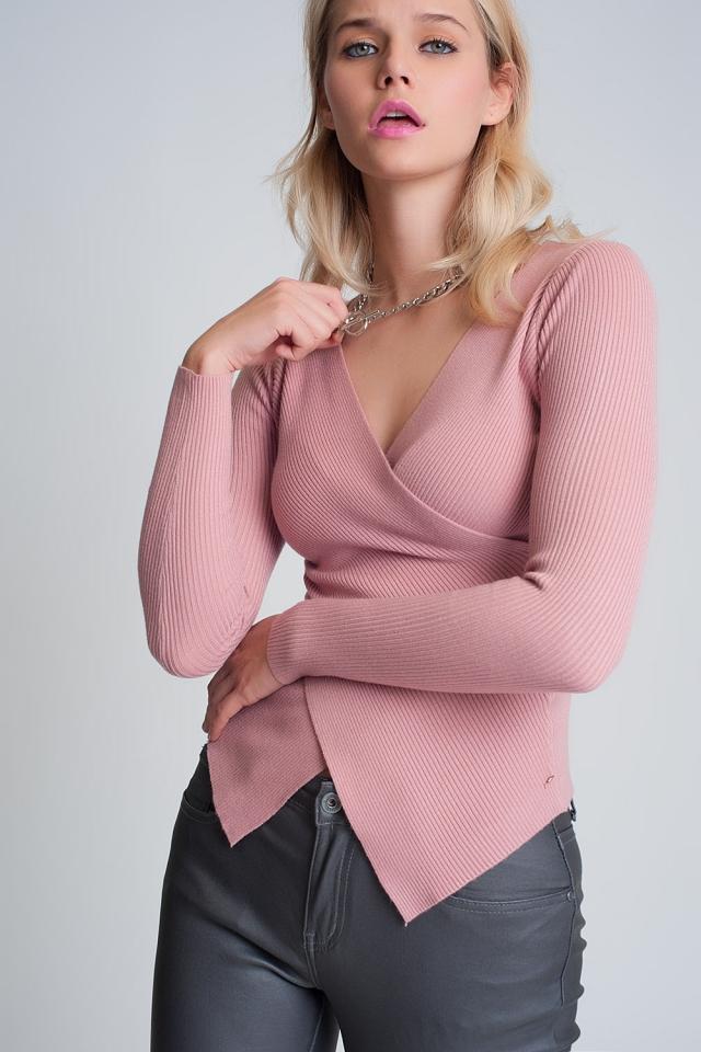 Roze geribbelde overslagtrui met v-hals