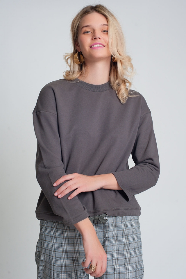 Katoenen trekkoordsweater in grijs