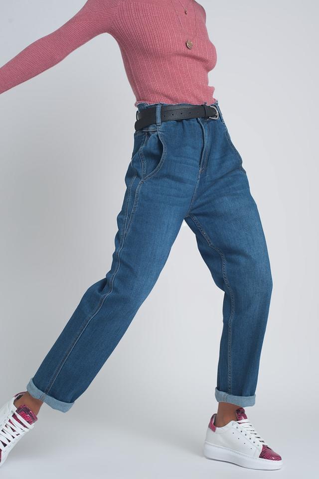 Balloon boyfriend jeans met hoge taille en blauw