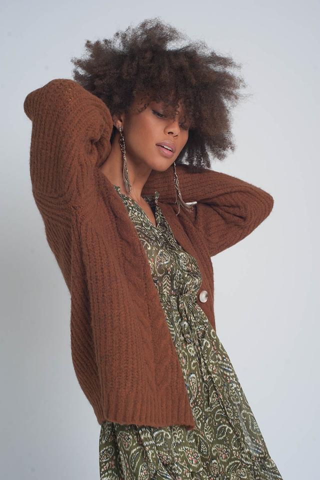 Grofgebreid vest in bruin