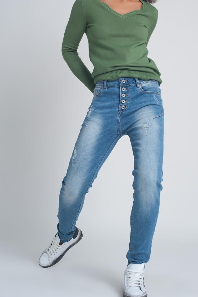 Knopje voor jeans in blauw