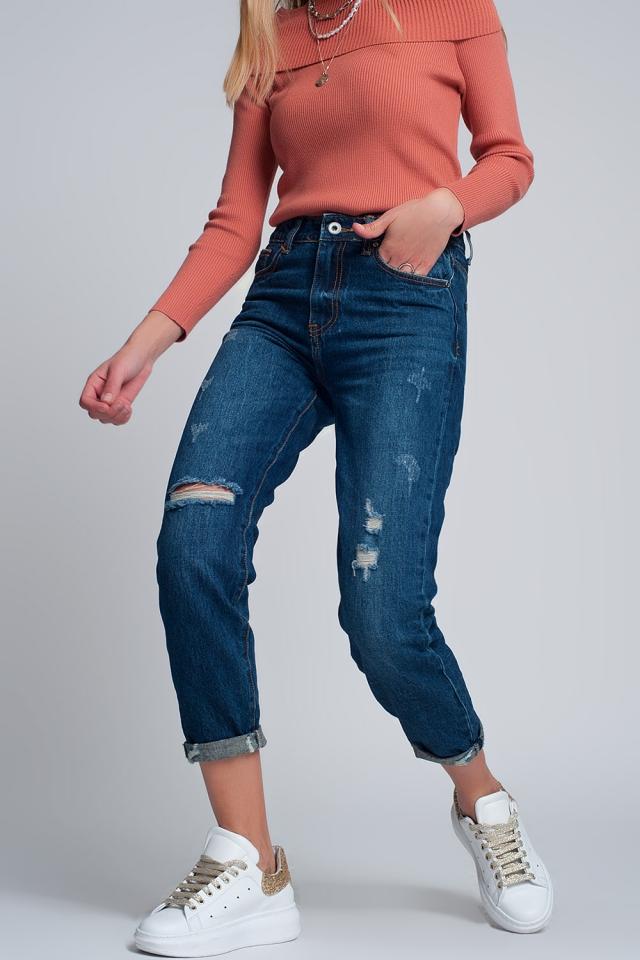 Mom jeans en hoge taille met gebroken voorkant in blauw
