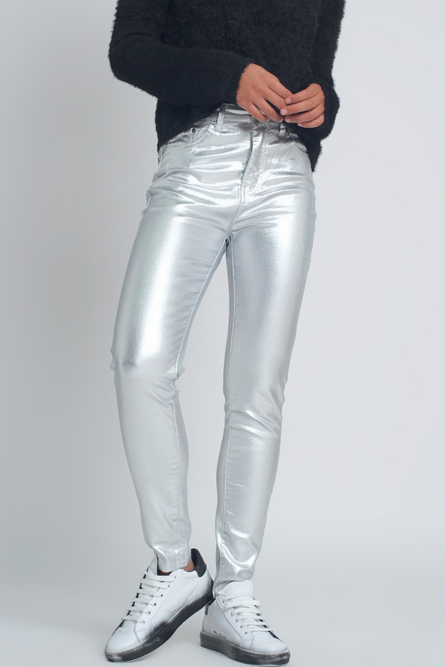 Skinny jeans in metallic zilver