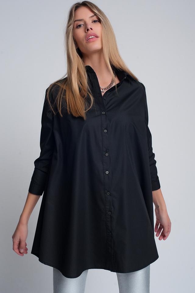 Oversized overhemd poplin met kraag in zwart