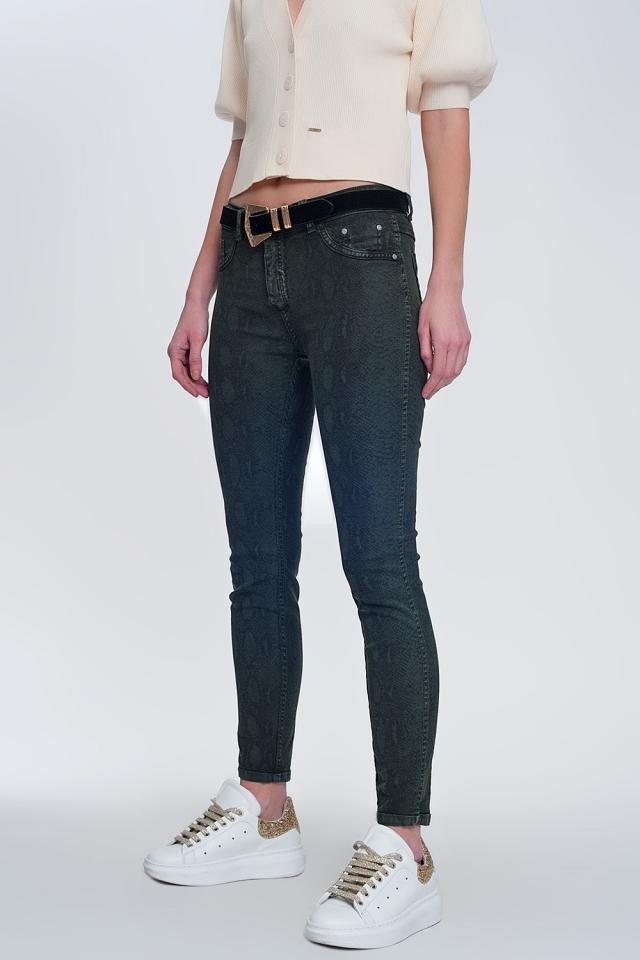 Khaki super magere omkeerbare broek met slangenprint