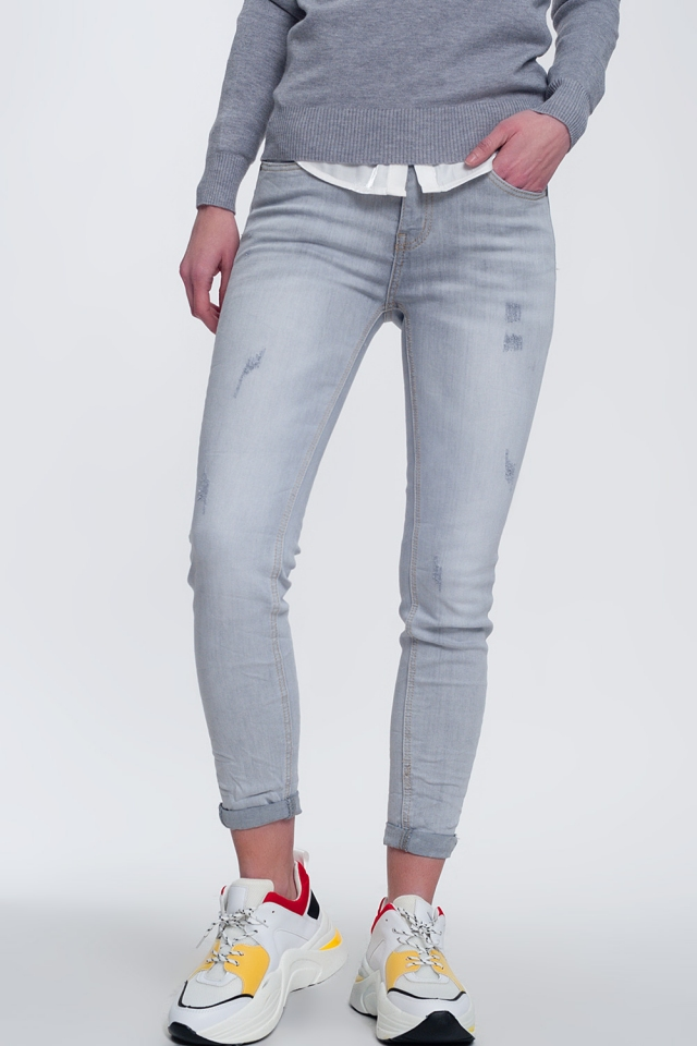 Fit jeans in vervaagd grijs