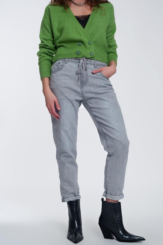 Lichte jeans joggingbroek in midwash grijs