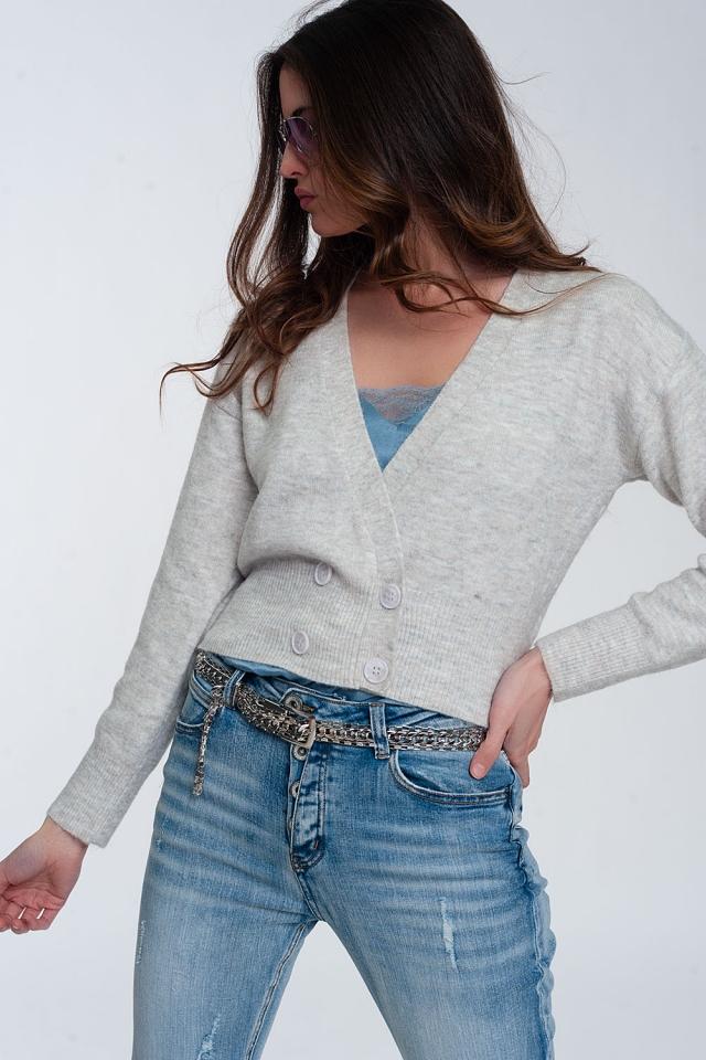 Gebreid cropped vest met knopen aan de voorkant in crème