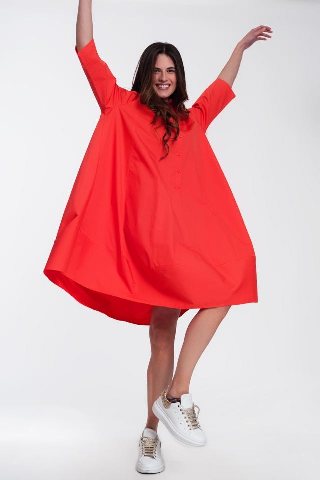 Oversized shirtjurk in rood