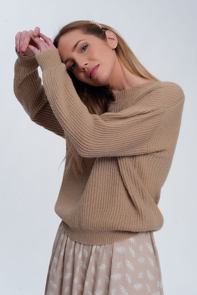 Ribbed jumper in light beige
