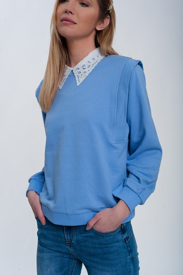 Boyfriend sweatshirt with shoulder details in blue