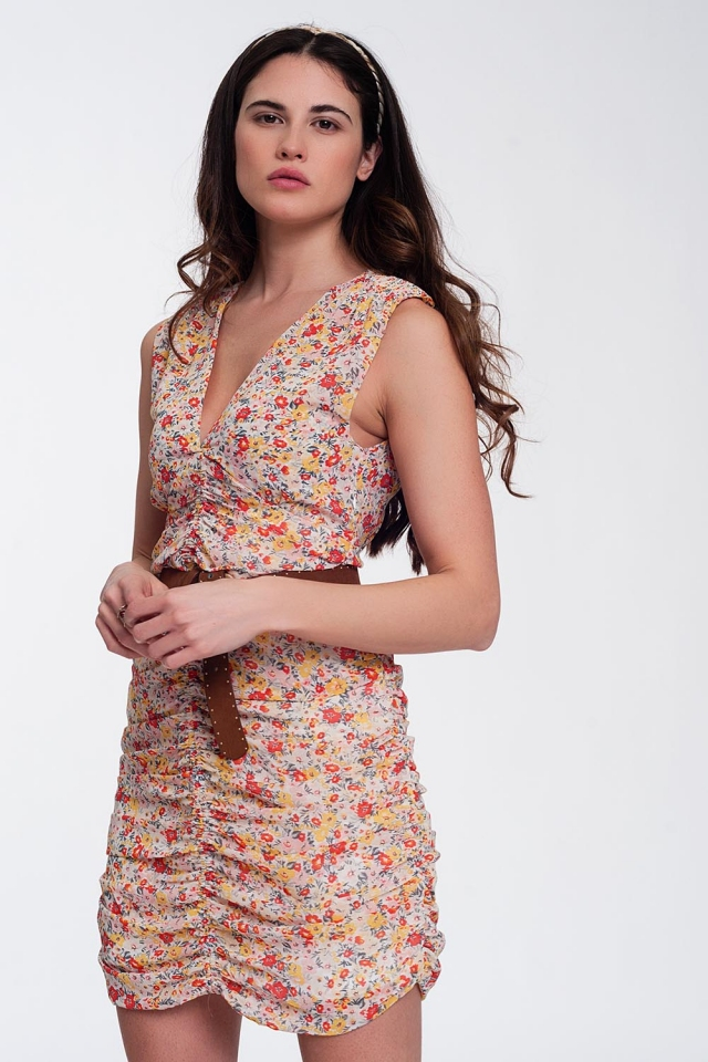 Ruched bodycon mini dress in floral mesh print