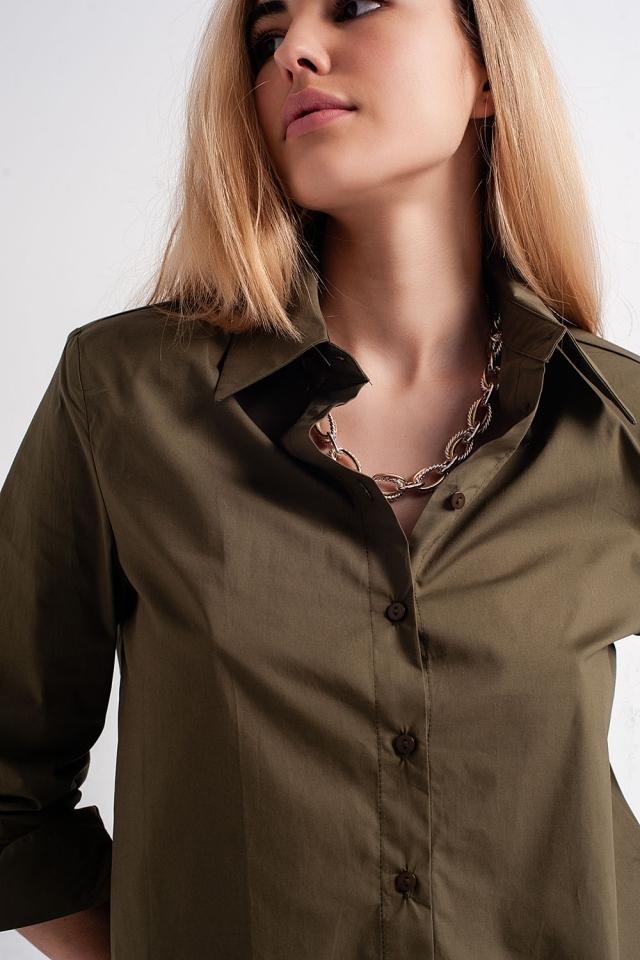 Overhemd met lange mouwen en schoudervullingen in kaki
