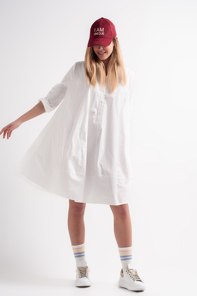 oversized jurk van katoenen poplin in wit