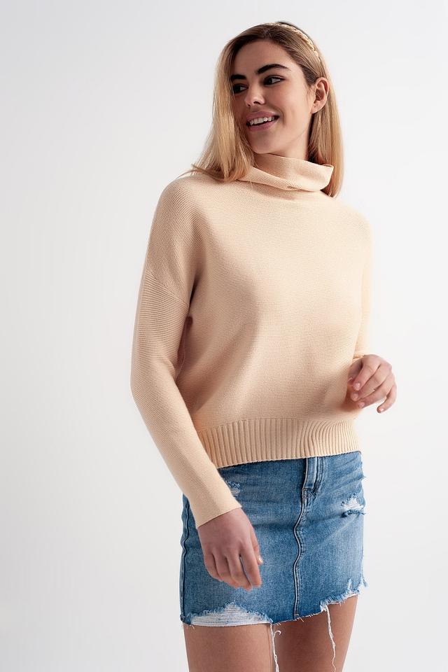 Oversized trui met gedrapeerde halslijn in beige