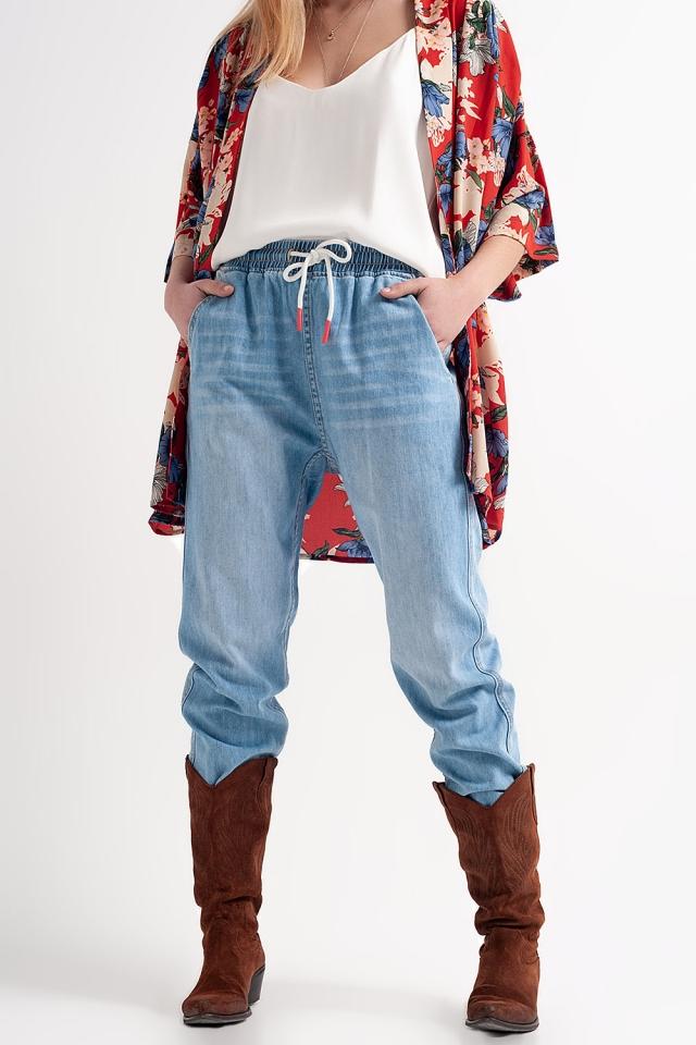 Lichte jeans joggingbroek in midwash