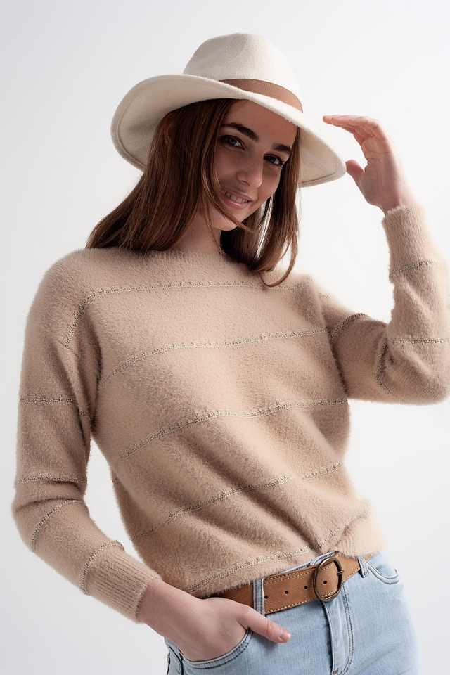 Pluizige gebreide trui met textuur in gemêleerd beige
