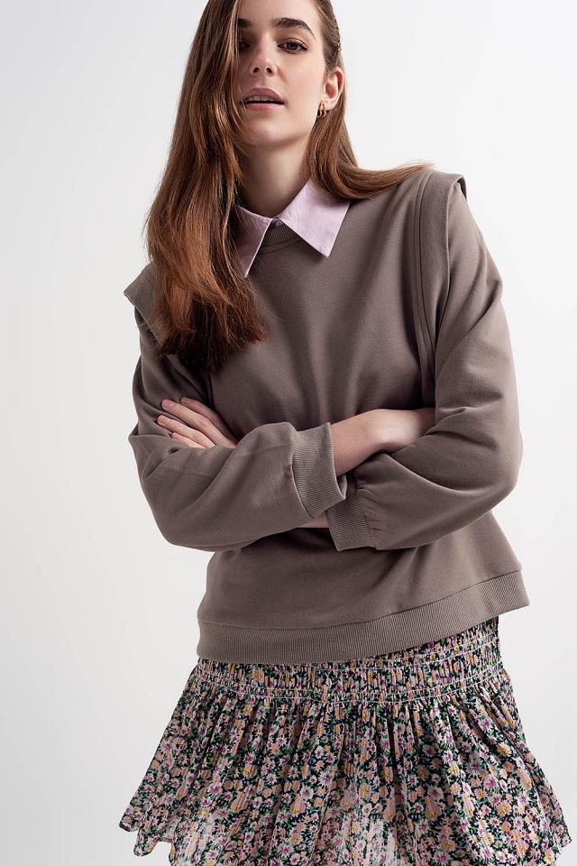 Sweatshirt met details op de schouders  in grijs