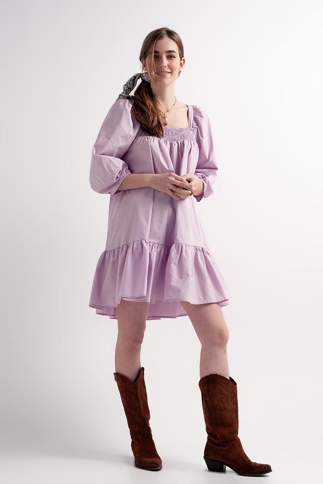 Aangerimpelde mini-jurk van katoenen poplin met strook in paars