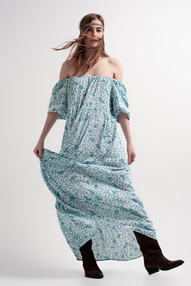 Lange jurk met lage schouders ruches en turkoois bloemenprint