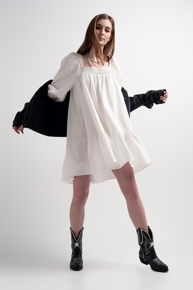 Aangerimpelde mini-jurk van katoenen poplin met strook in wit